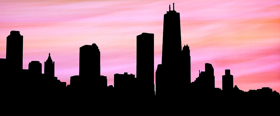 Chicago Skyline Peachy Pink Background by Marilyn Hunt