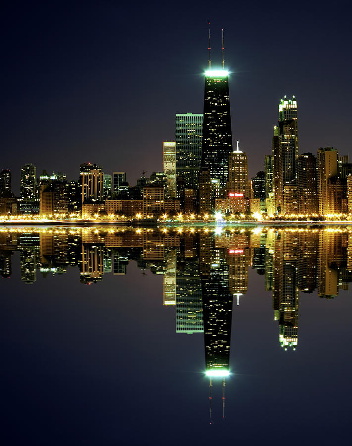 Chicago Skyline Reflected On Lake Photograph by Pawel.gaul