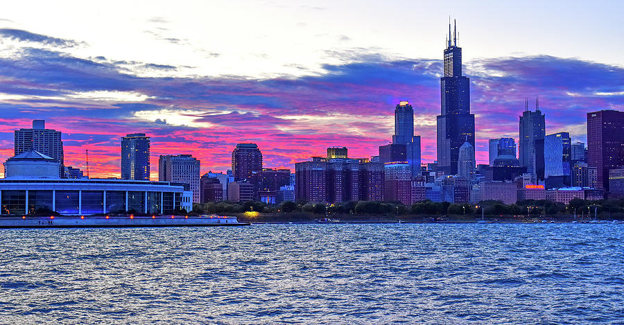Chicago Skyline Sunset by Mitchell R Grosky