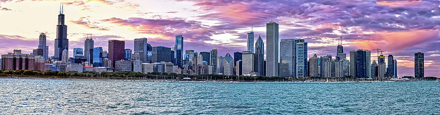 Chicago Skyline Sunset Panorama by Mitchell R Grosky
