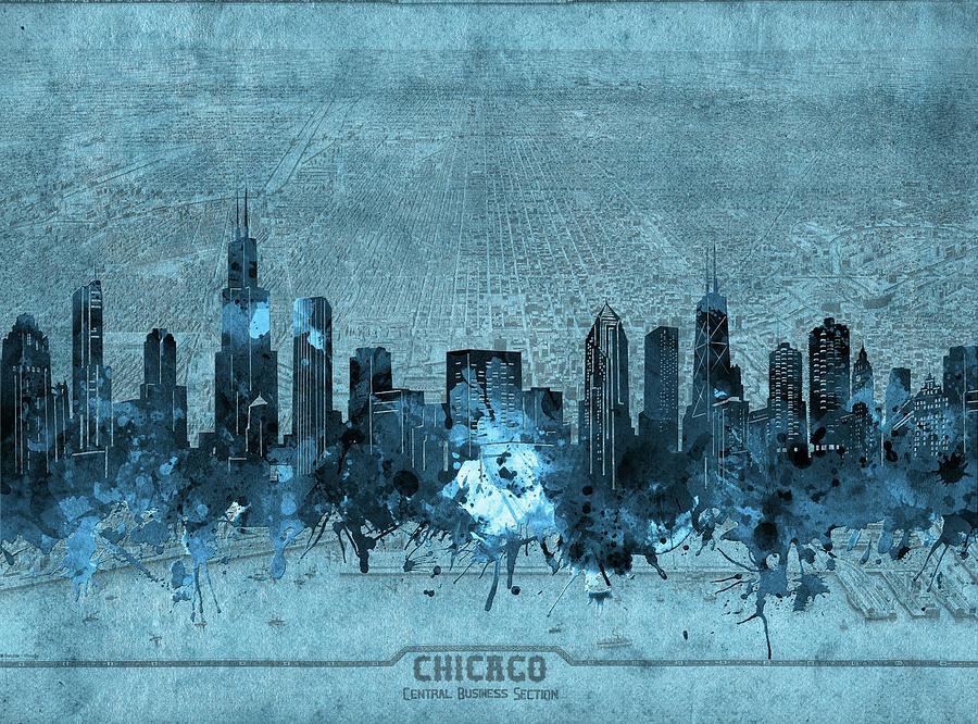 Chicago Skyline Vintage 4 Digital Art
