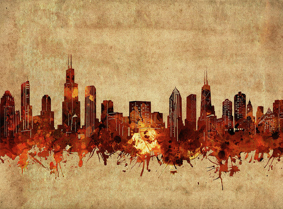 Chicago Skyline Vintage Digital Art