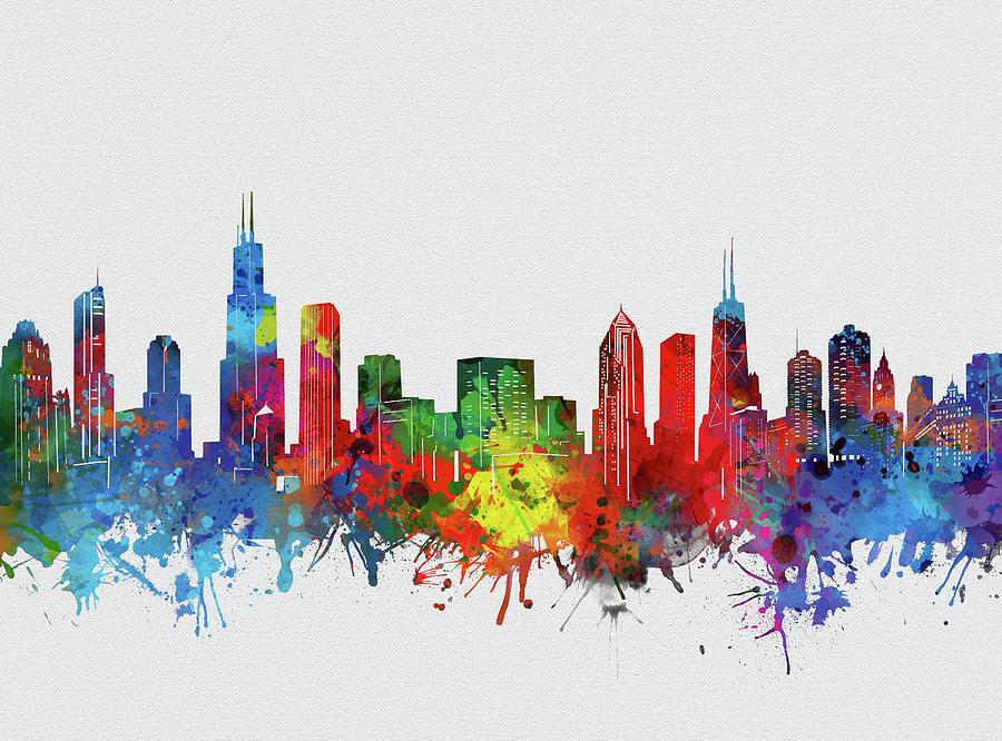 Chicago Skyline Watercolor 2 Digital Art