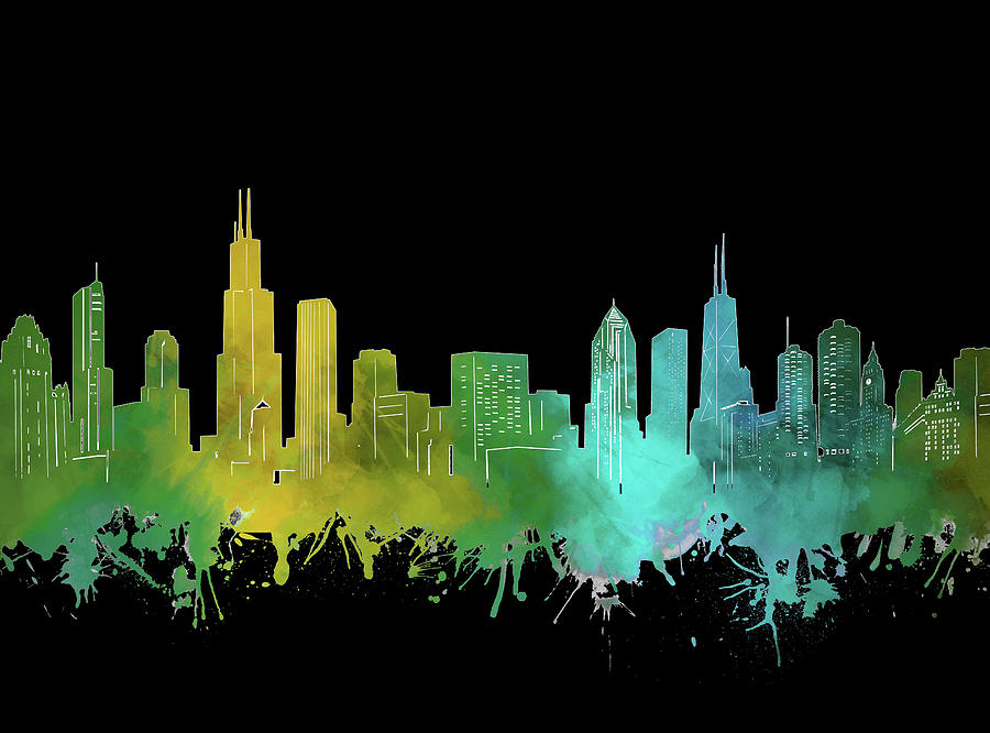 Chicago Skyline Watercolor 3 Digital Art