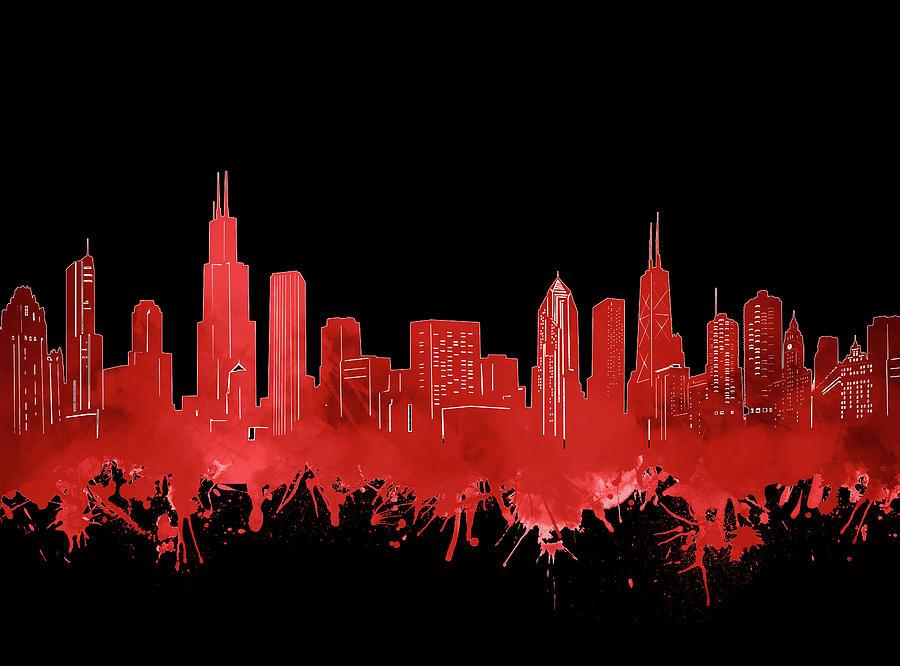 Chicago Skyline Digital Art - Chicago Skyline Watercolor 5 by Bekim M