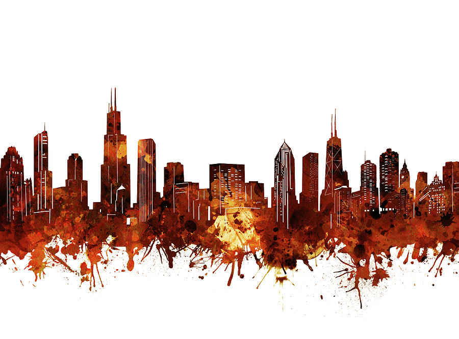 Chicago Skyline Watercolor 6 Digital Art
