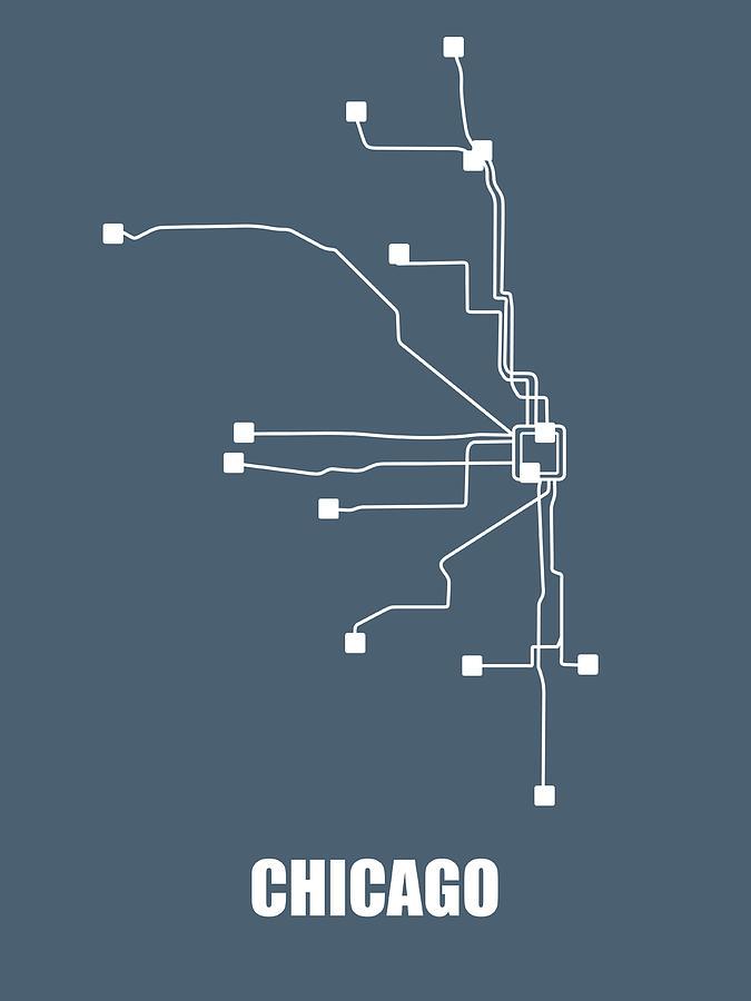 Chicago Subway Subway Map.Chicago Subway Map By Naxart Studio