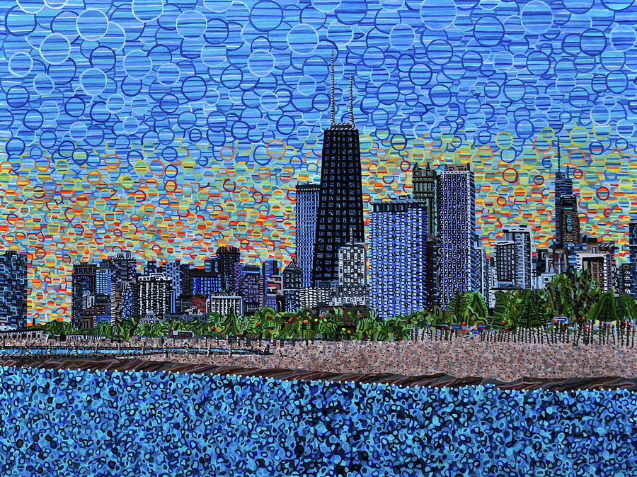 Chicago Painting - Chicago Sunset by Micah Mullen