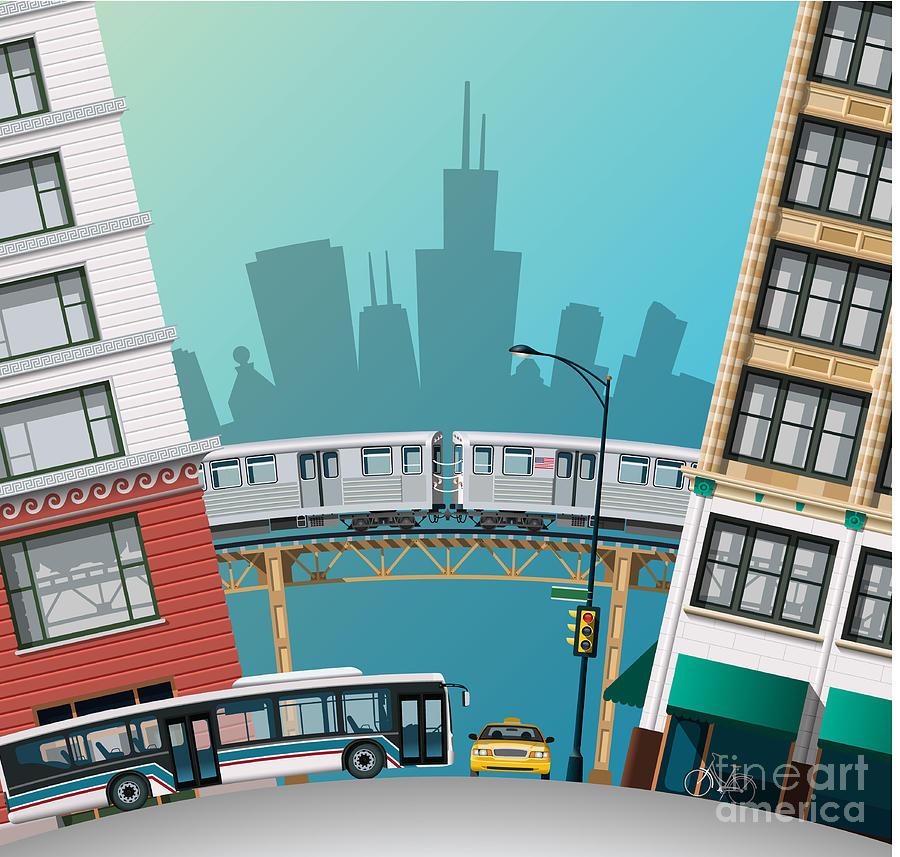 Bus Digital Art - Chicago Traffic by Nikola Knezevic