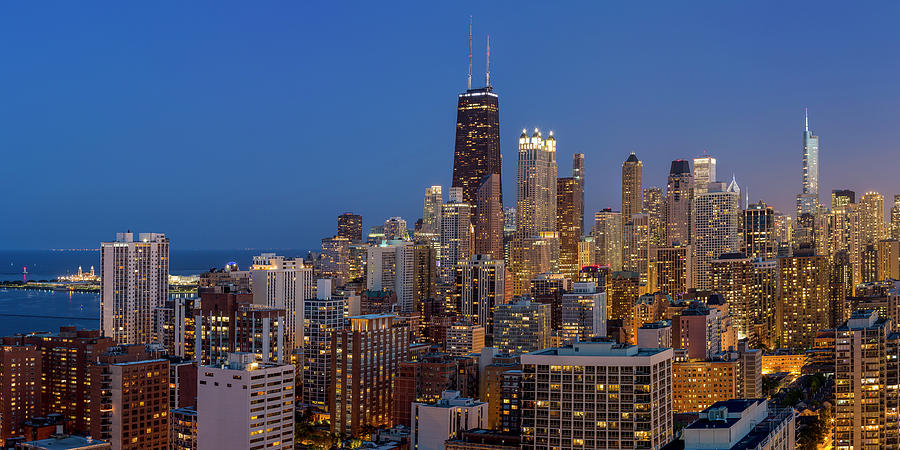 Chicago's Streeterville at Dusk Panoramic by Adam Romanowicz
