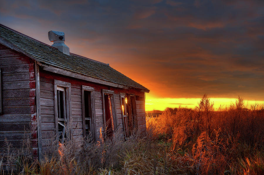Chicken Coop Sunrise - Abandoned Stensby Homestead in ND by Peter Herman