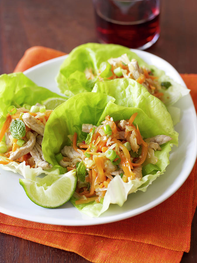 Chicken Lettuce Cups With Vegetables Photograph by James Baigrie