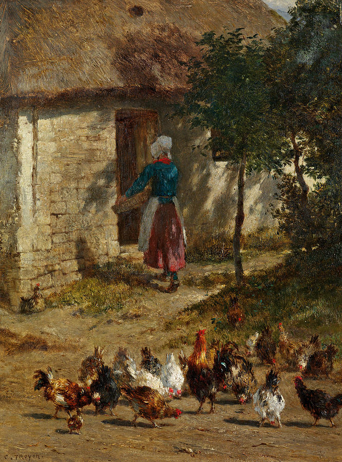 Chickens in Front of a Farmhouse by Constant Troyon