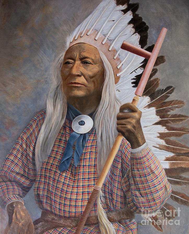 Native American Chief Painting - Chief Washakie Of The Eastern Shoshone by Nancy Lee Moran