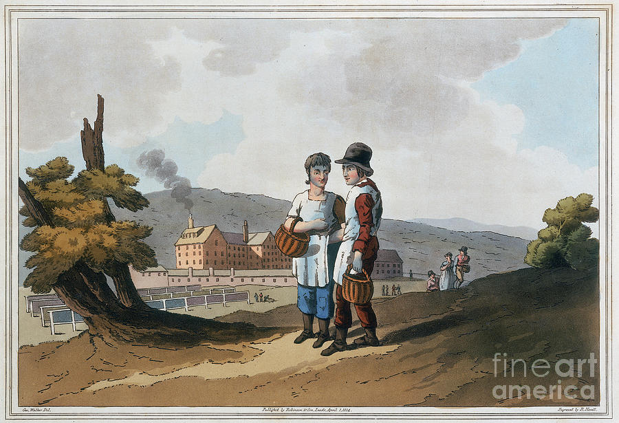 Child Factory Workers, 1814. Artist Drawing by Print Collector