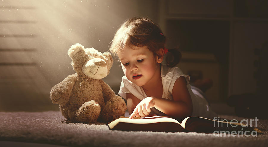 Magic Photograph - Child Little Girl Reading A Magic Book by Evgeny Atamanenko
