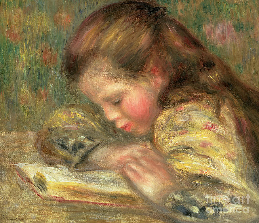 Book Painting - Child Reading, 1890  by Pierre Auguste Renoir