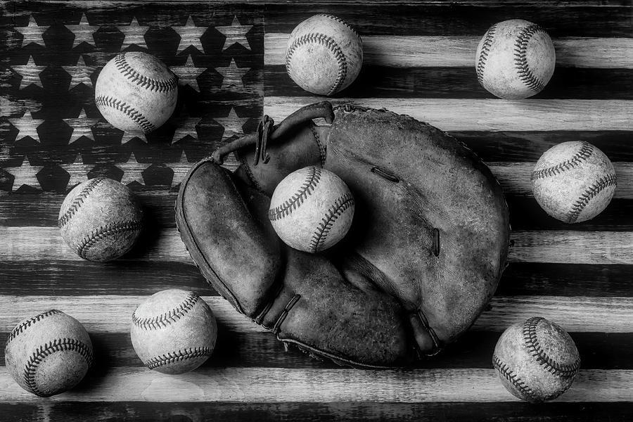 Childhood Catchers Mitt On Flag In Black And White by Garry Gay