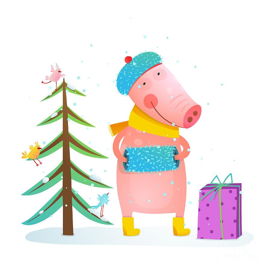 Gift Digital Art - Childish Cheerful Little Pig In Winter by Popmarleo