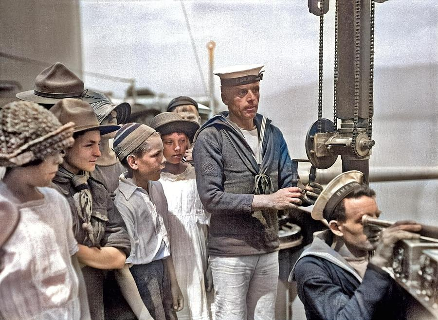 Children Aboard Hms Hood At Vancouver. Signalers Demonstrate Their Jobs. 25 June 1924, By Stuart Tho Painting