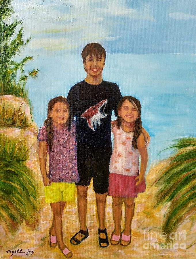 Children at the Beach by MYRTLE JOY