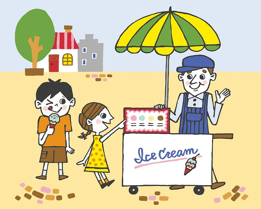 Children Buying Ice Creams, Painting Digital Art by Daj