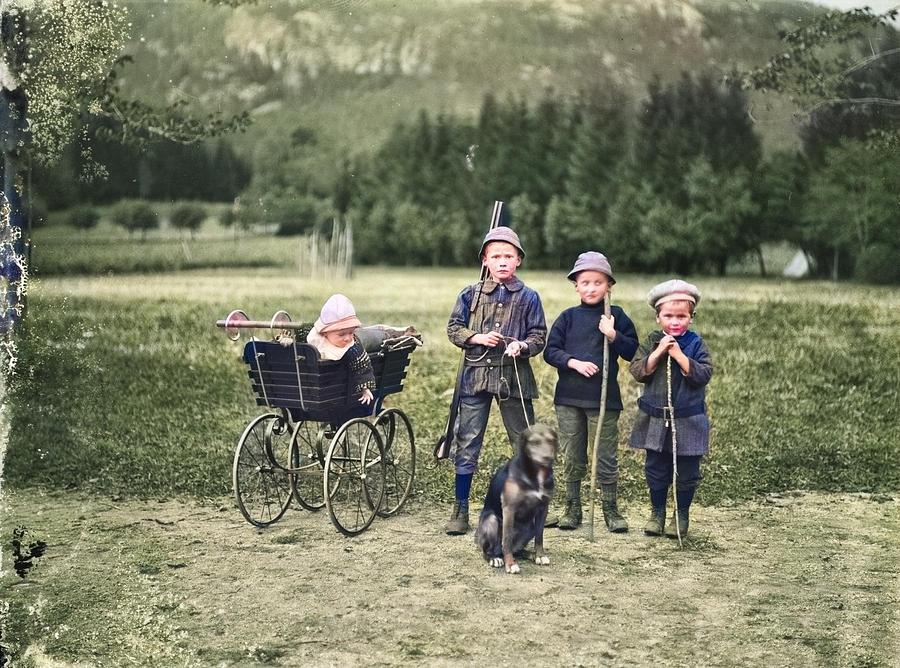 Children, Ca. 1920-1930 Colorized By Ahmet Asar Painting