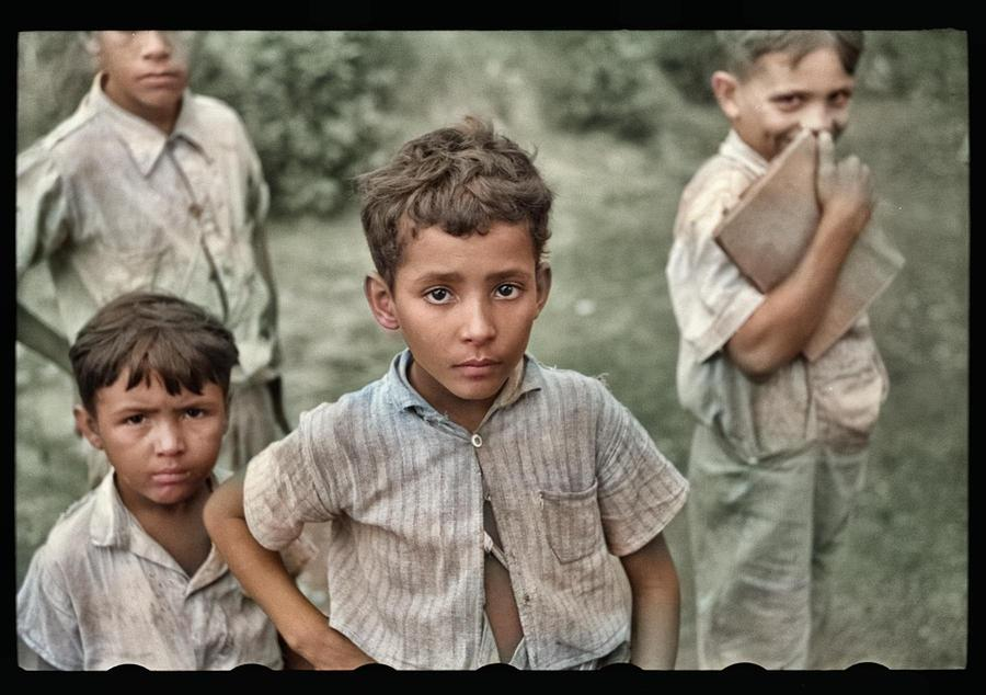 Children Coming Home From School On A Road Near Manati, Puerto Rico Colorized By Ahmet Asar Painting