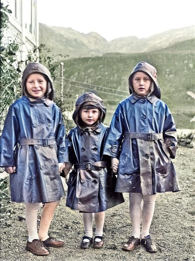 Children In Rain Coats, Ca. 1920, Paul Stang Colorized By Ahmet Asar Painting