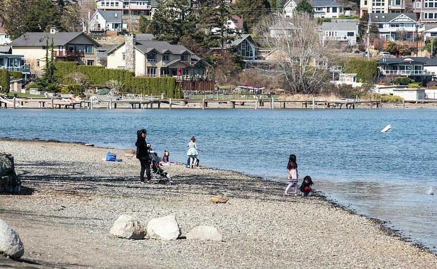 Children on a Gravel Beach by Tom Cochran
