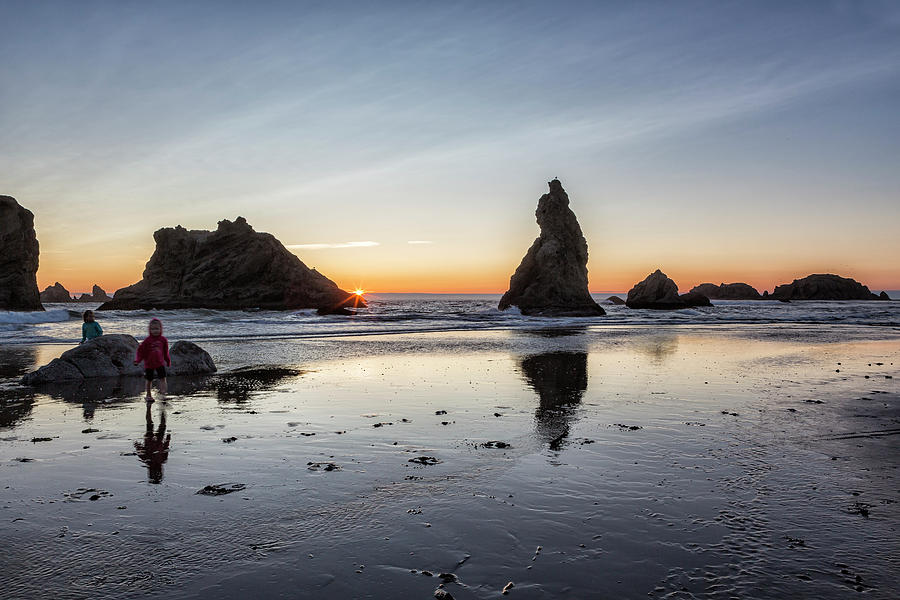 Children Playing at Sunset on Bandon Beach by Belinda Greb
