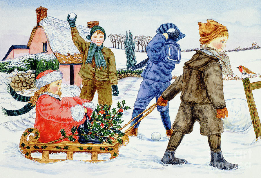 Watercolor Painting - Children Playing In The Snow  by Catherine Bradbury