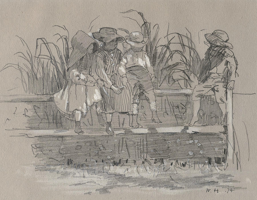 Winslow Homer Drawing - Children Sitting On A Fence by Winslow Homer