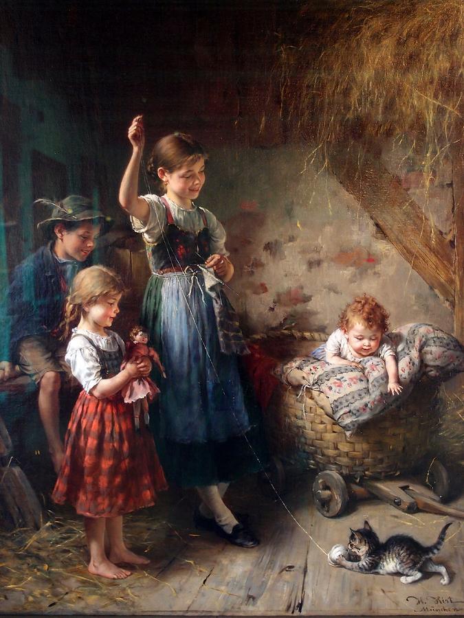 Children with a Kitten  by Heinrich Hirt