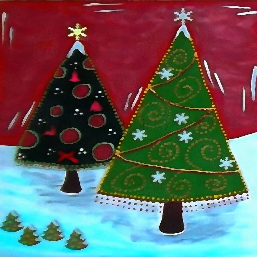 Acrylic Christmas Tree Painting.Childrens Naive Christmas Tree Design By Taiche Acrylic Art