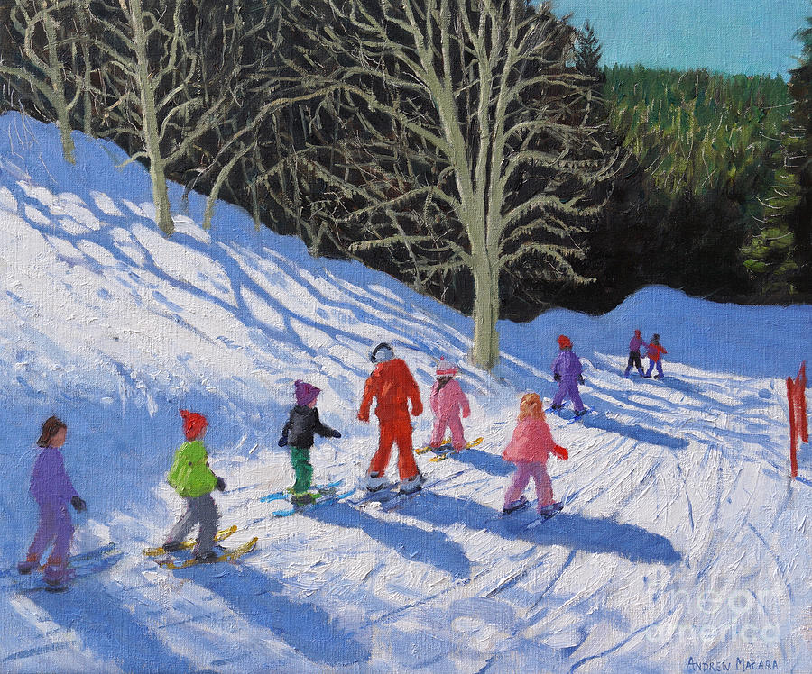White Painting - Childrens Ski Lesson, Courchevel To La Tania  by Andrew Macara