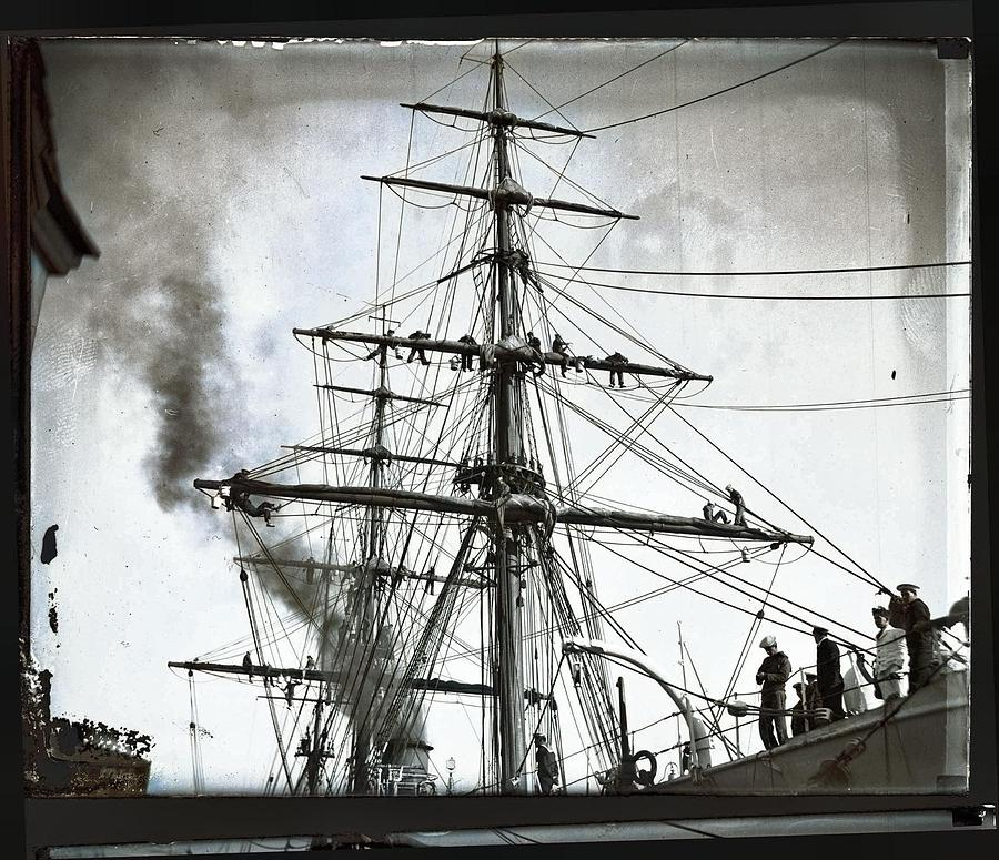 Chilean Naval Crew Working The Sails Of The General Baquedano, July 1931 Colorized By Ahmet Asar Painting