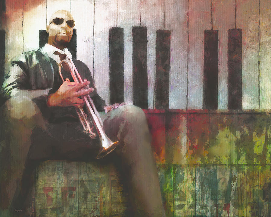 Cool Dude Digital Art - Chillin with a Trumpet by Regina Wyatt