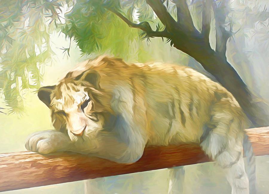 Wild Digital Art - Chilling Tiger by Jasmina Seidl