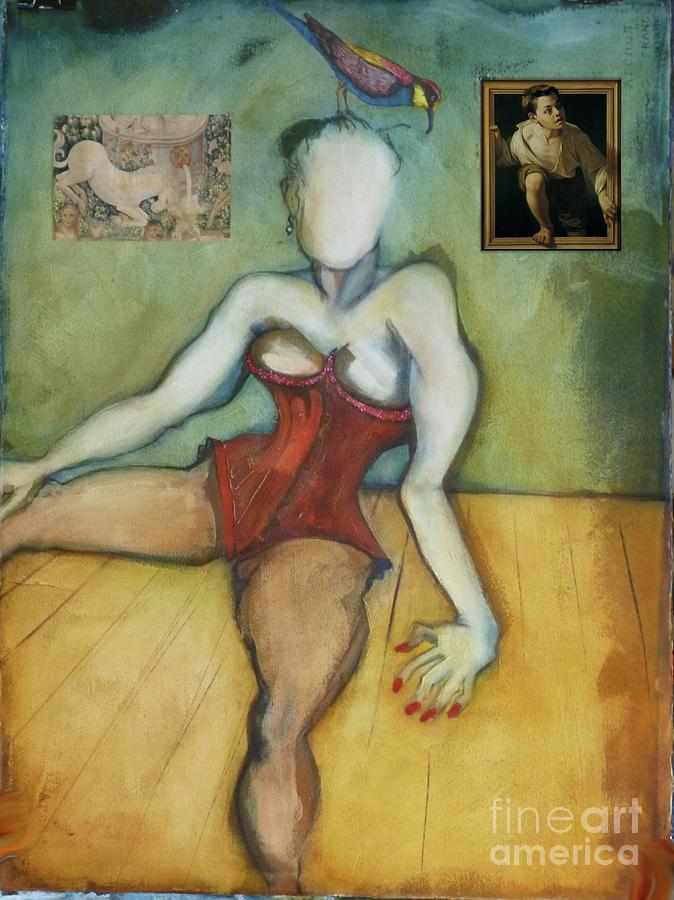 Burlesque Painting - Chin Chin With an Imaginary Bird on Her Head by Carolyn Weltman