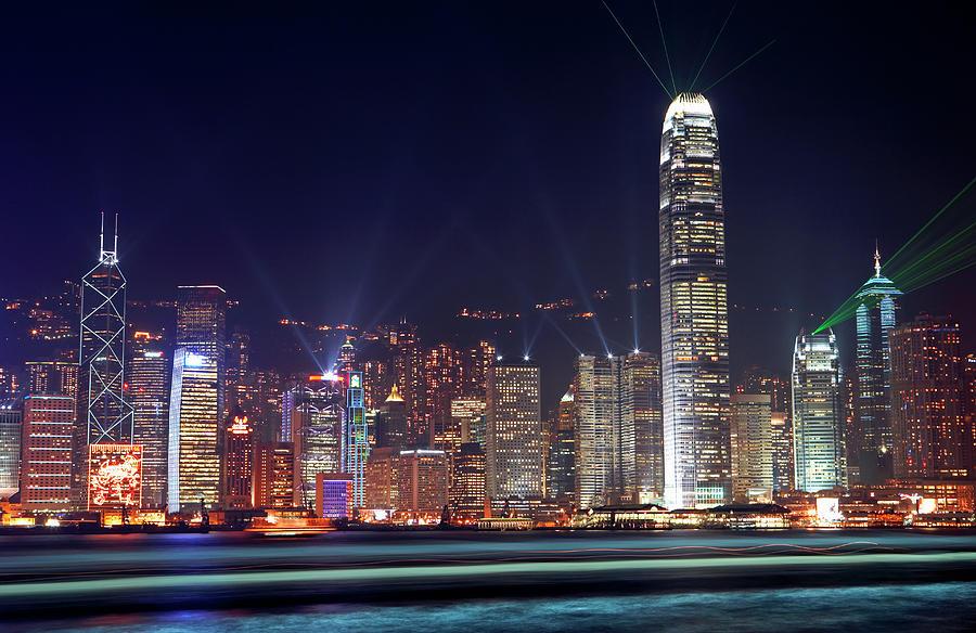 China, Hong Kong, Skyline At Night Photograph by Allan Baxter