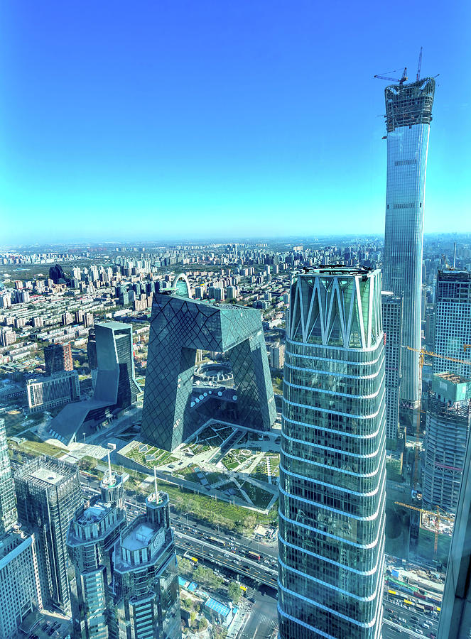Apartment Building Photograph - China World Trade Center, Z15 Towers by William Perry