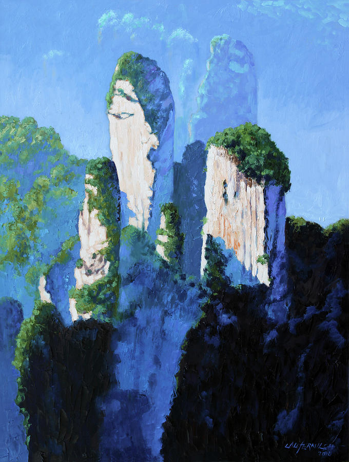 Mountains Painting - Chinas Mountains #17 by John Lautermilch