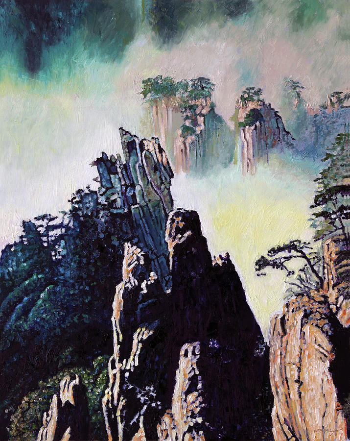 Mountains Painting - Chinas Mountains Eighteen by John Lautermilch