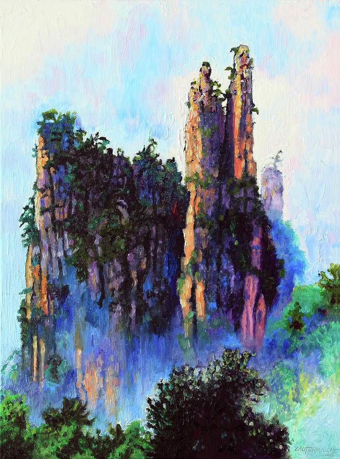 Mountains Painting - Chinas Mountains 22 by John Lautermilch