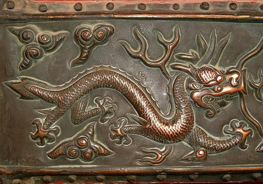 Chinese Mixed Media - Chinese brass dragon relief, detail at the Forbidden City, Palace Museum, Beijing, China by Steve Clarke