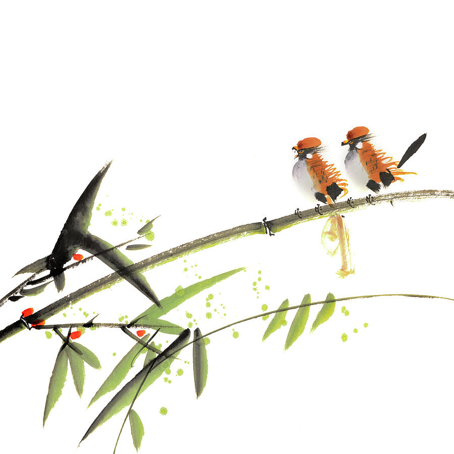 Chinese Painting With Birds Digital Art by Vii-photo