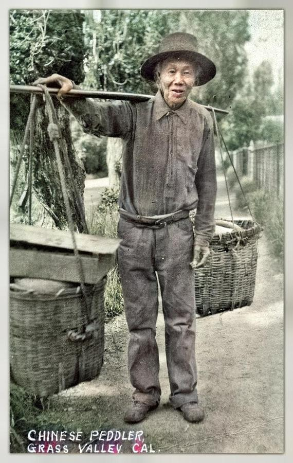 Chinese Peddler, Grass Valley, Cal.  Unknown 1929 Colorized By Ahmet Asar Painting