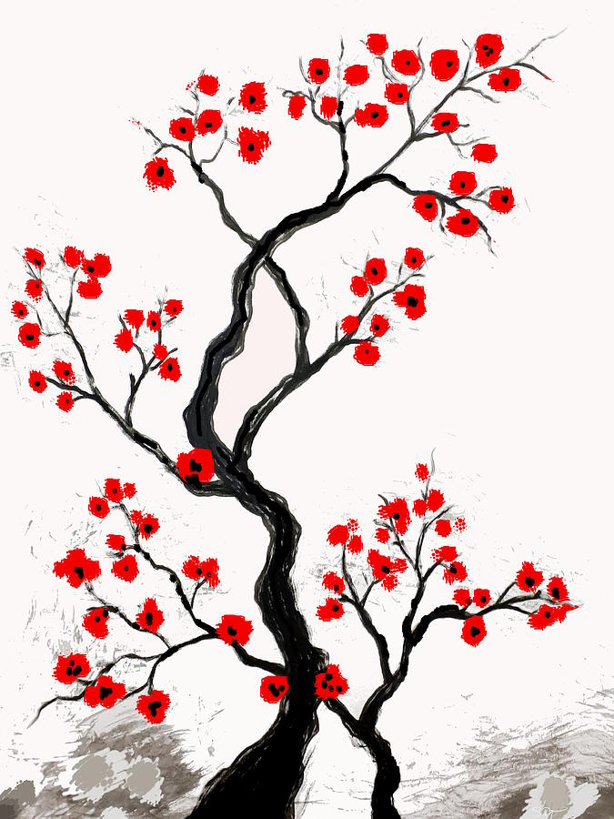 Chinese Digital Art - Chinese Plum Blossom by Abstract Angel Artist Stephen K