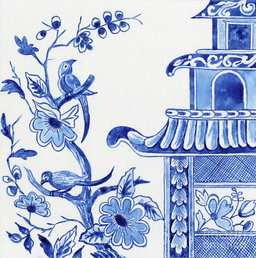 Chinoiserie Blue and White Birds in Flowering Tree and Pagoda by Audrey Jeanne Roberts